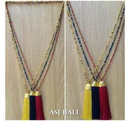 pineapple golden caps tassels pendant design necklace crystal beads bali