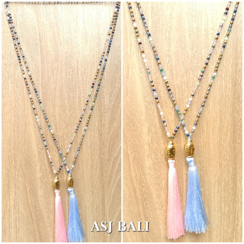 small budha head chrome tassel necklaces crystal beads mix color