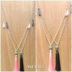 stone bead necklace handmade tassels pendant ball caps 2color
