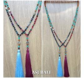 stone beads agate mix turquoise handmade elegant design tassel pendant