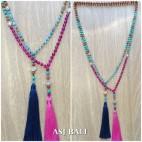 stone beads agate mix turquoise rudraksha elegant design tassels pendant
