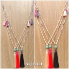 stone necklace bali handmade tassels necklace ball caps 3color