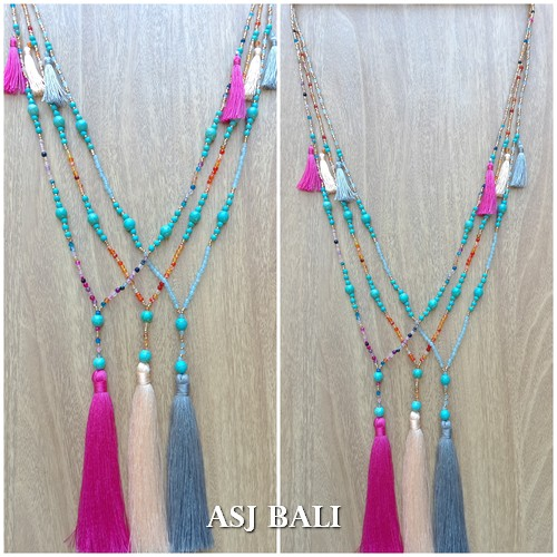 tassels necklace handmade bead strand crystal stone turquoise 3color