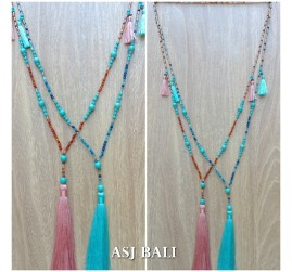 tassels necklace handmade strand beads crystal stone turquoise