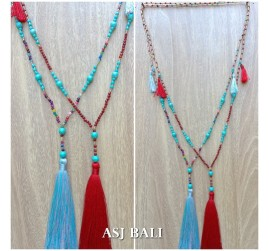 tassels necklace strand beads crystal stone turquoise 2color bali