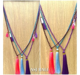 tassels pendant necklace mono strand beads 3color fashion