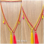 tassels pendant necklace mono strand beads fashion bali design 2color