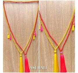 tassels pendant necklace mono strand beads fashion bali design 2color