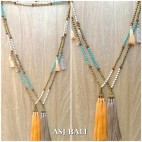 triple tassels golden caps necklaces pendant stone mala beads