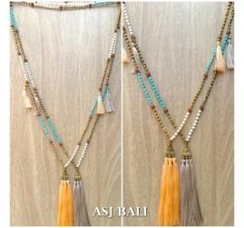 triple tassels golden caps necklaces pendant stone mala beads