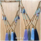 triple tassels golden caps necklaces pendant with stone rudraksha bead
