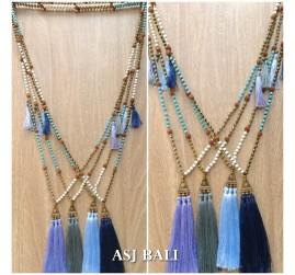 triple tassels golden caps necklaces pendant with stone rudraksha bead
