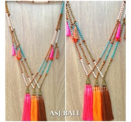 triple tassels necklaces pendant mix elegant beads golden caps
