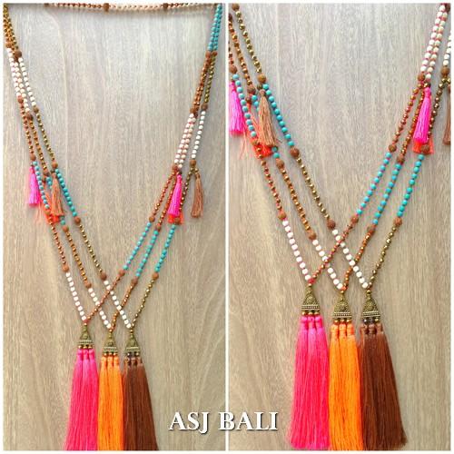 triple tassels necklaces pendant mix elegant beads golden caps