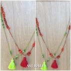 2color tassel necklaces with shell beads single strand fashion