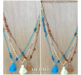 3color tassel necklaces with seashell beads single strand fashion