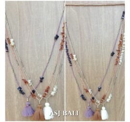 3color tassel necklaces with shell beads single strand fashion