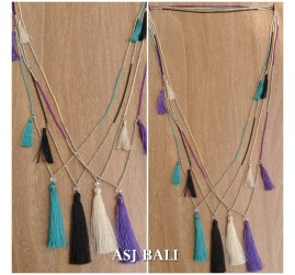 4color small beads silver necklaces tassels pendant fashion