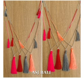 4color small beads silver necklaces tassels pendant fashion design