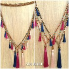 bali handmade necklaces tassels design wood bead natural layer 3color