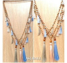 bali handmade necklaces tassels design wood natural layer 3color