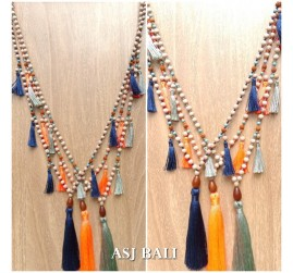 handmade necklaces tassels design wood natural strand 3color