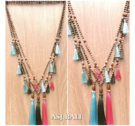 bali handmade necklaces tassels design wooded bead natural layer 3color