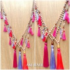 bali handmade necklaces tassels design wooden natural strand 3color