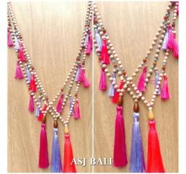 bali handmade necklaces tassels design wooden natural strand 3color