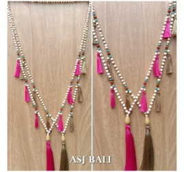 bali wood beading necklaces tassels handmade classic design 2color