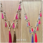 bali wooden bead necklaces tassels handmade classic design 4colors