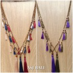 bali wooden bead necklaces tassels handmade classic design 5color