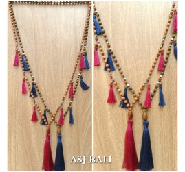 bali wooden bead necklaces tassels handmade ethnic design 2color