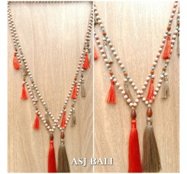 bali wooden bead necklaces tassels handmade natural design 2color