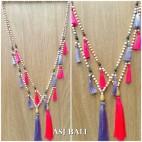 bali wooden bead necklaces tassels handmade unique design 2color