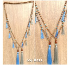 bali wooden beaded necklaces tassels handmade classic design 2color