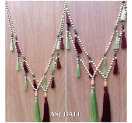 bali wooden beaded necklaces tassels handmade ethnic design 2color