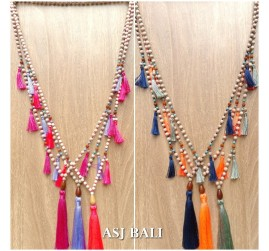 balinese design of handmade necklaces tassels with wooden beads