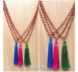 balinese rudraksha wood bead strand tassels necklaces prayer design