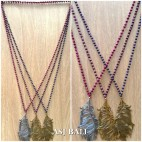 crystal bead strand solid necklaces bronze pendant 3color