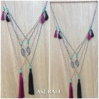 charming necklace tassel pendant long strand bead fashion 2color