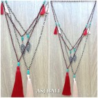 charms beads necklace tassel pendant fashion accessories 2color