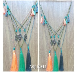 charms necklace tassel pendant with bali bead fashion accessories