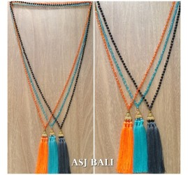 crystal beaded long strand triple pendant tassels necklaces 3color