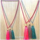 crystal beads long seeds triple pendant necklaces tassels 3color