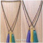 crystal beads long strand triple pendant necklaces tassels 3color