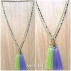 crystal beads long strand triple pendant necklaces tassels handmade