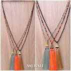crystal beads long strand triple pendant king caps necklaces tassels style