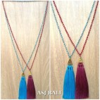 crystal beads long strand triple pendant tassels king caps necklaces design