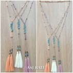 double tassels necklaces pendant with stone beads fashion style